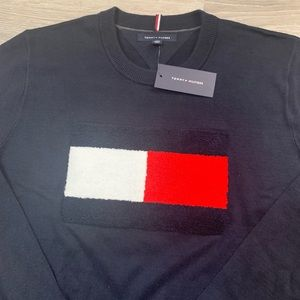 Tommy Hilfiger Navy Crewneck Sweater with Big Logo